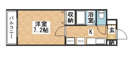 シャンテ吉塚[1K/24.96m2]の間取図