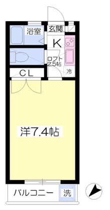 福岡県福岡市東区松崎1丁目[1K/24m2]の間取図