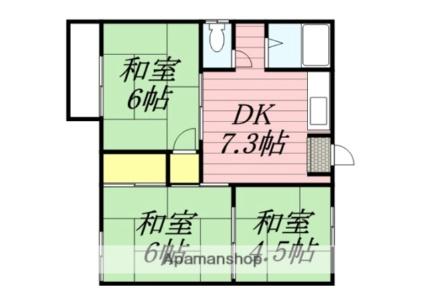 佐賀県三養基郡みやき町大字白壁[3DK/42.6m2]の間取図