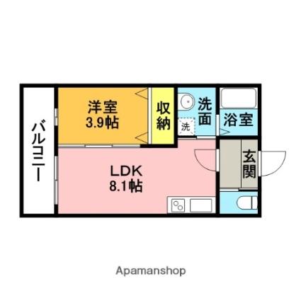 福岡県大野城市山田2丁目[1LDK/29.25m2]の間取図