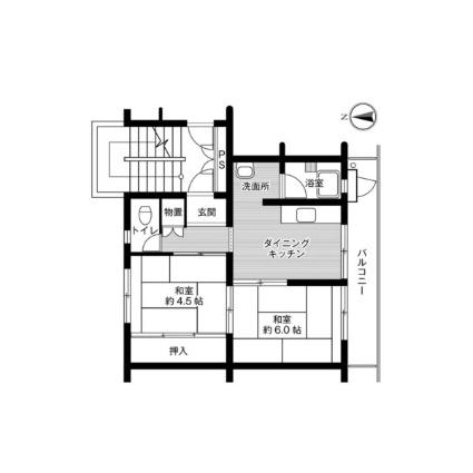 ビレッジハウス栗面2号棟[2DK/38.46m2]の間取図