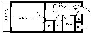 マーベラス[1K/24.42m2]の間取図