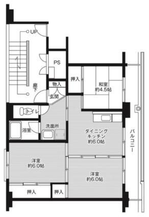 ビレッジハウス津水2号棟[3DK/53.08m2]の間取図