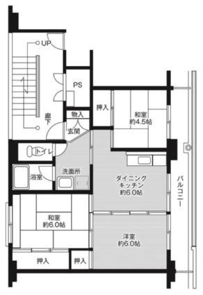 ビレッジハウス津水1号棟[3DK/53.08m2]の間取図