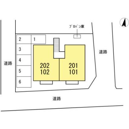 セジュール小城[2LDK/53.7m2]の配置図