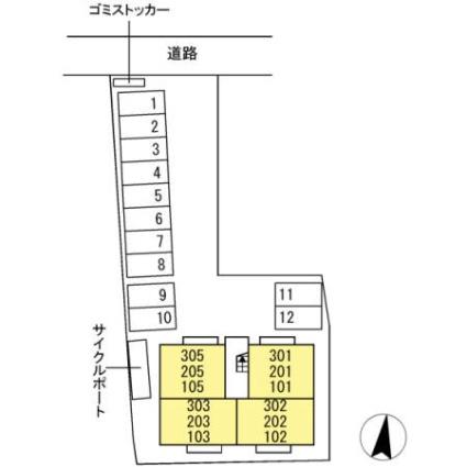 LUSSOⅡ[1LDK/37.68m2]の配置図