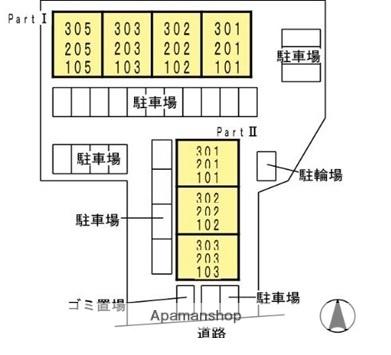 アベニュー島田PARTⅠ[3DK/60.91m2]の配置図