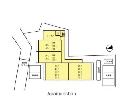 グランマルクナガサキ[1DK/32.49m2]の配置図