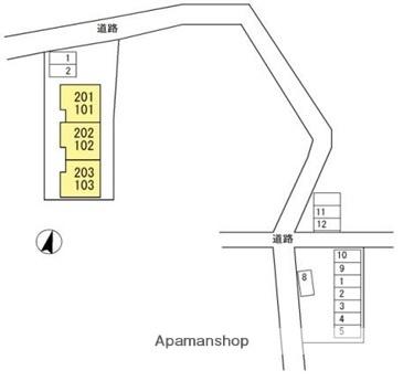 ハイネス梁川[1R/23.22m2]の配置図
