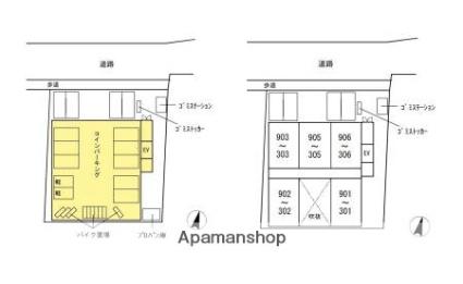 フェリーチェ梅香崎[2K/37.04m2]の配置図