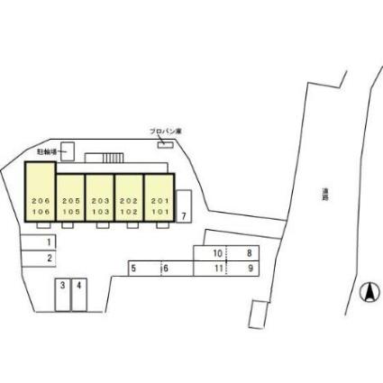 アンソレイエ[1LDK/33.39m2]の配置図