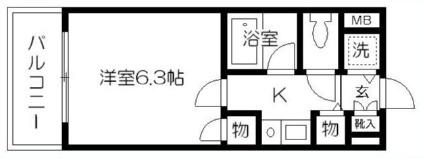 ダイアパレス水前寺第3[1K/20.35m2]の間取図
