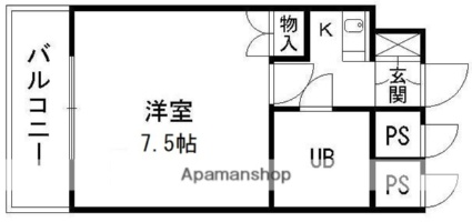 オン・スクエア本荘[1K/21.6m2]の間取図