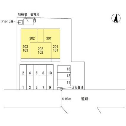 熊本県熊本市中央区出水6丁目[1LDK/42.93m2]の配置図