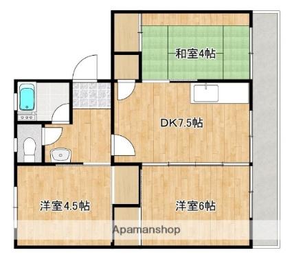 松野第一ビル[3DK/43.64m2]の間取図