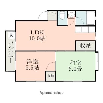 シャイン東原A[2LDK/45.76m2]の間取図