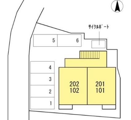 ホームパーティーⅥ号館[1LDK/40.29m2]の配置図