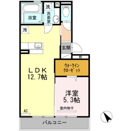 熊本県熊本市北区大窪1丁目[1LDK/43.93m2]の間取図
