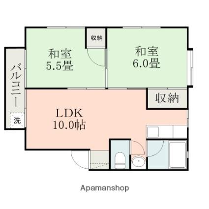 シャイン東原B[2LDK/45.76m2]の間取図