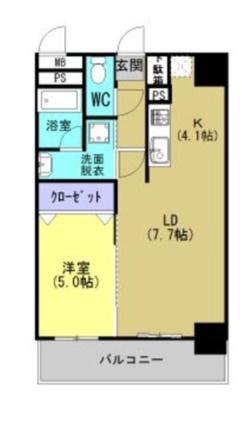 マウンテンフィールド坪井[1LDK/42.12m2]の間取図