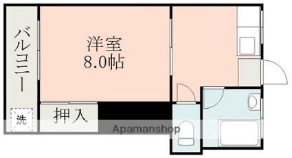 帯山ハイツ[1K/24.22m2]の間取図