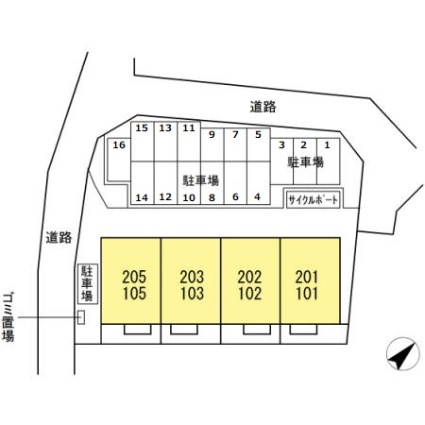 熊本県熊本市東区上南部2丁目[2LDK/53.82m2]の配置図