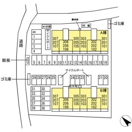 熊本県熊本市東区御領5丁目[1LDK/42.93m2]の配置図