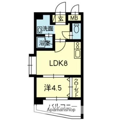熊本県熊本市中央区南千反畑町[1LDK/31.68m2]の間取図