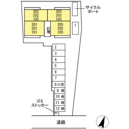 熊本県熊本市中央区本荘5丁目[1LDK/39.77m2]の配置図
