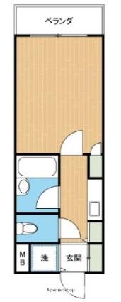 熊本県熊本市中央区水前寺1丁目[1K/17.86m2]の間取図