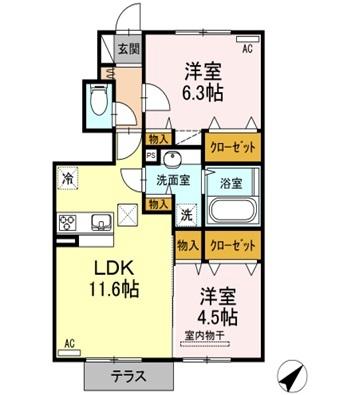 熊本県熊本市東区上南部2丁目[2LDK/53.82m2]の間取図
