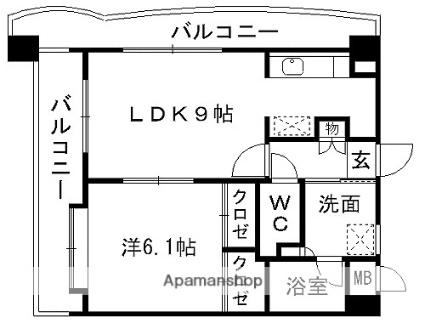 VINCENTE黒髪[1LDK/35.96m2]の間取図