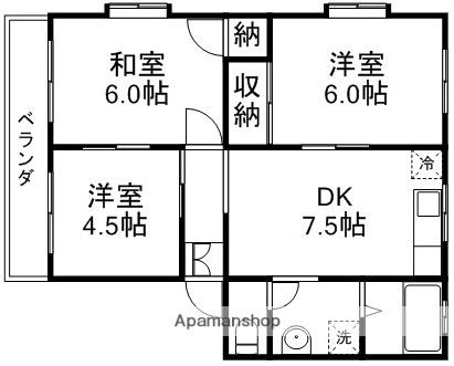 グリーンハイツ宮本[3DK/50m2]の間取図
