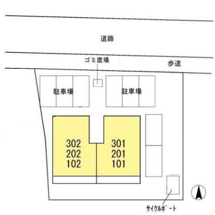 熊本県熊本市中央区神水1丁目[3LDK/67.23m2]の配置図