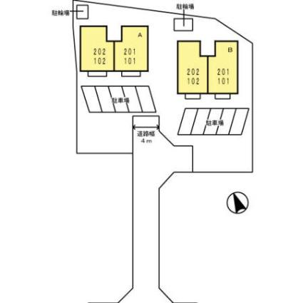 セジュールそれいゆ A棟[3DK/53.68m2]の配置図