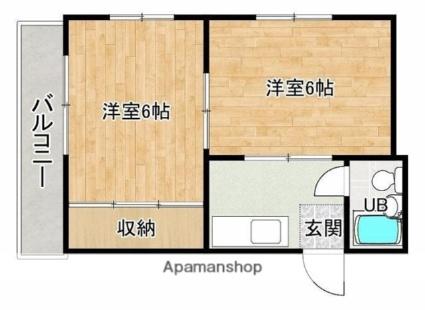 熊本県熊本市中央区水前寺6丁目[2K/28.5m2]の間取図