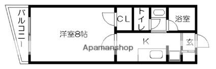 ロイヤル九品寺[1K/24.75m2]の間取図
