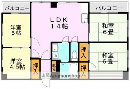 熊本県熊本市中央区新町1丁目[4LDK/71.94m2]の間取図