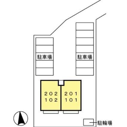 熊本県熊本市中央区十禅寺1丁目[2LDK/53.76m2]の配置図
