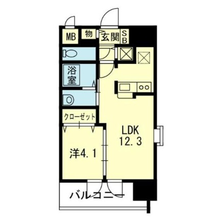 熊本県熊本市中央区本荘4丁目[1LDK/41.23m2]の間取図