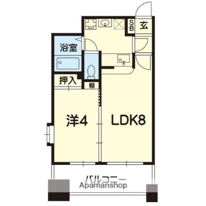 熊本県熊本市中央区水前寺2丁目[1LDK/30.59m2]の間取図