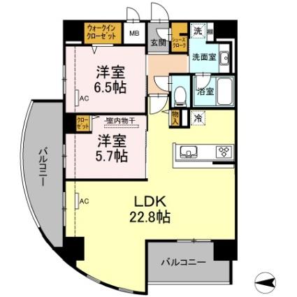 熊本県熊本市中央区九品寺2丁目[2LDK/75.25m2]の間取図