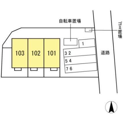 熊本県熊本市中央区内坪井町[3LDK/75.56m2]の配置図