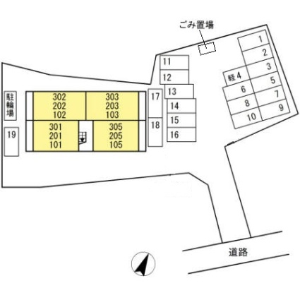 熊本県熊本市中央区黒髪6丁目[1LDK/42.79m2]の配置図