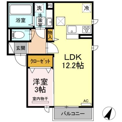 熊本県熊本市中央区出水6丁目[1LDK/38.77m2]の間取図