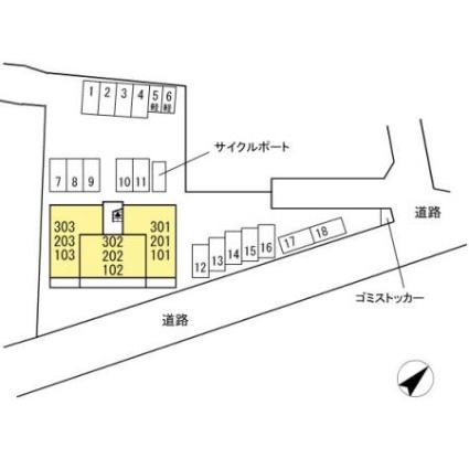 熊本県熊本市北区龍田1丁目[2LDK/55.04m2]の配置図