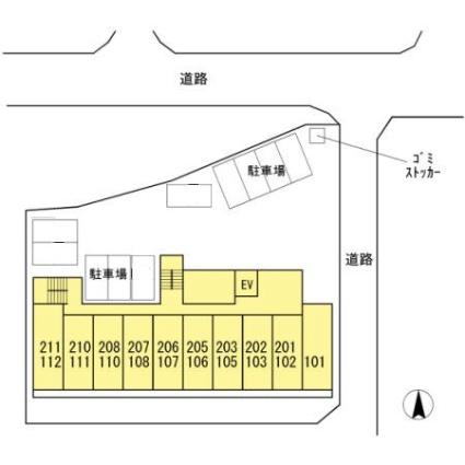 熊本県熊本市北区鶴羽田町[1R/26.08m2]の配置図