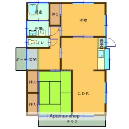熊本県熊本市北区八景水谷3丁目[2LDK/57.96m2]の間取図
