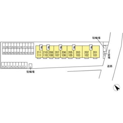 大分県中津市中央町2丁目[1LDK/45.81m2]の配置図