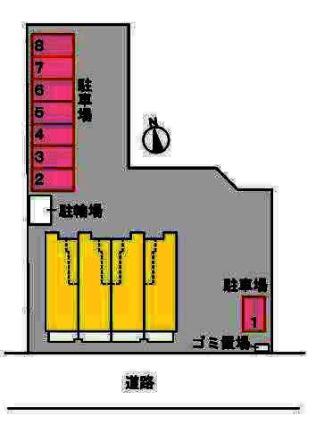 ガーデンハウス・バニラ[1LDK/42.8m2]の配置図